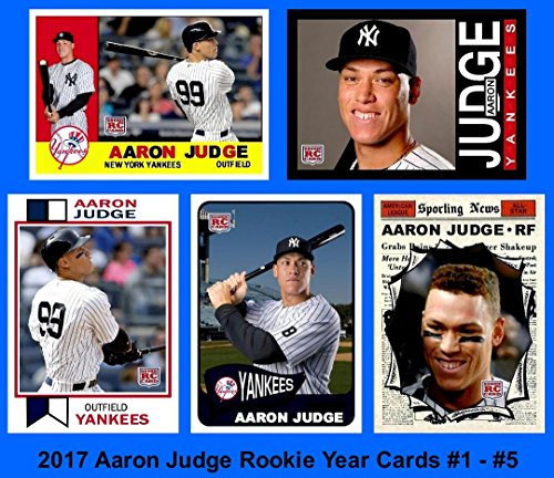 2010 All Star Baseball Ball - Aaron Judge **2017 Set #1 of 5 Custom Rookie Cards with Classic Topps Designs 1960, 1961 All-Star, 1965, 1973, 1986 Football** (Yankees)