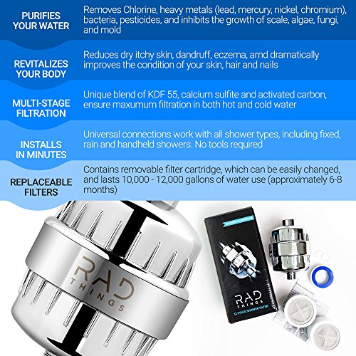RAD Things Shower filter - Reduces chlorine - water softener and purifies for better hair and skin - safe for babies - 12 stage for all hand held and shower head systems - comes with 2 cartridges by RAD Things (Image #4)