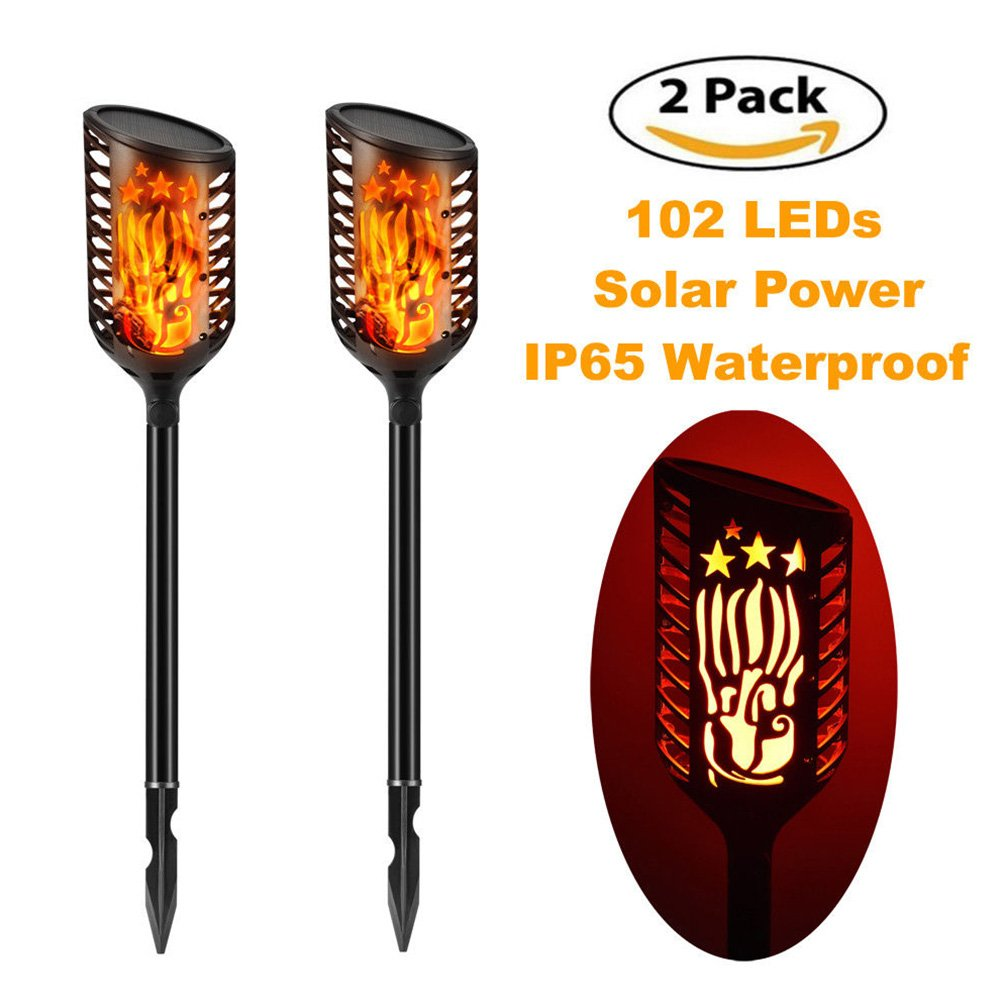 Solar Garden Tiki Torch Lights, 102 LED Flickering Flames Torches Lights Outdoor Landscape Decoration Lighting Dusk to Dawn Auto On/Off Security Light for Path Patio Deck Yard Driveway (2 Pack) GeKLok