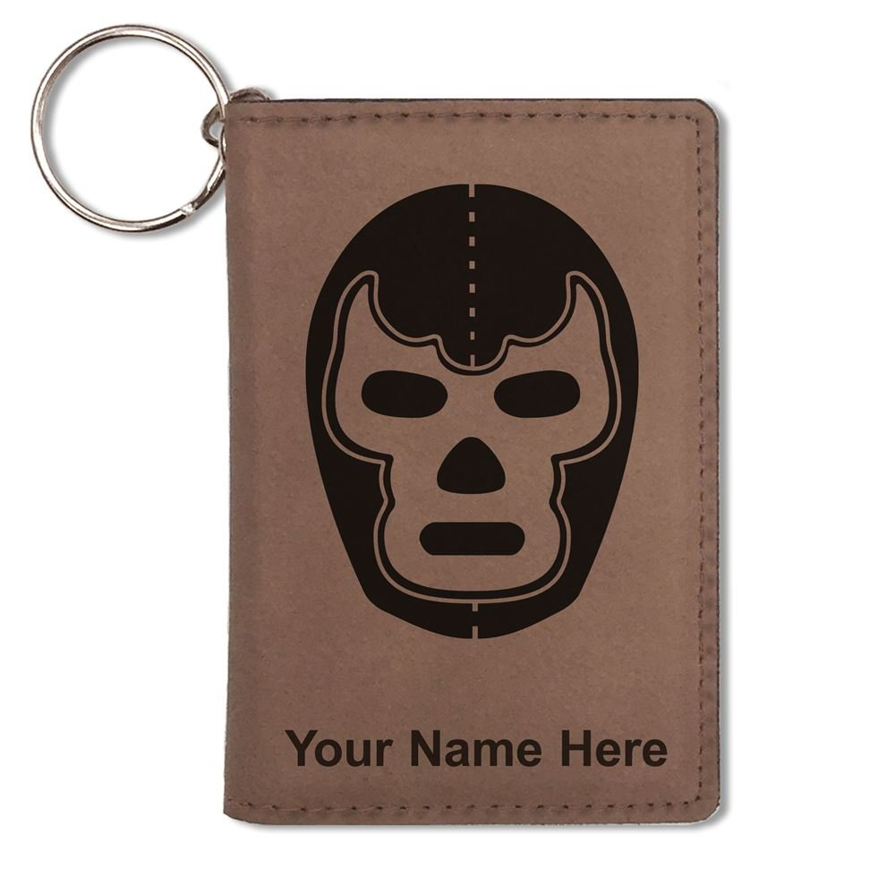 ID Holder Wallet, Luchador Mask, Personalized Engraving Included (Dark Brown)