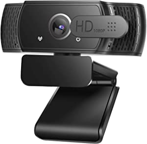 GOSCIEN Webcam, Full HD 1080P Webcam with Microphone, Desktop PC Laptop Computer Web Camera with Privacy Cover, Plug and Play USB Webcam Camera for Video Calling, Conference, Live Streaming, Studying