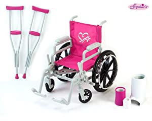Sophia's Doll Wheelchair Set with Accessories for 18 Inch Dolls Like American Girl Dolls, Doll Chair Set Includes Doll Wheelchair, Doll Crutches & Bandage, 18 Inch Doll Furniture