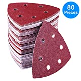 AUSTOR 80 Pieces Triangle Sandpaper Sanding Sheets 6 Holes Hook and Loop Assorted 40/ 60/ 80/ 120/ 180/ 240/ 320/ 400 Grits for Sanding and Polishing