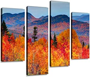 Canvas Wall Art Painting Pictures Autumn in The White Mountains of New Hampshire Modern Artwork Framed Posters for Living Room Ready to Hang Home Decor 4PANEL