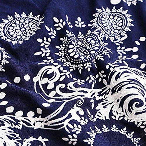 Bsgsh Pois Estate Abito Mini Carro Armato Dal Blu Motivo Elegante Prendisole Womens Casuale A Spiaggia Maniche Stampato qdCXqa