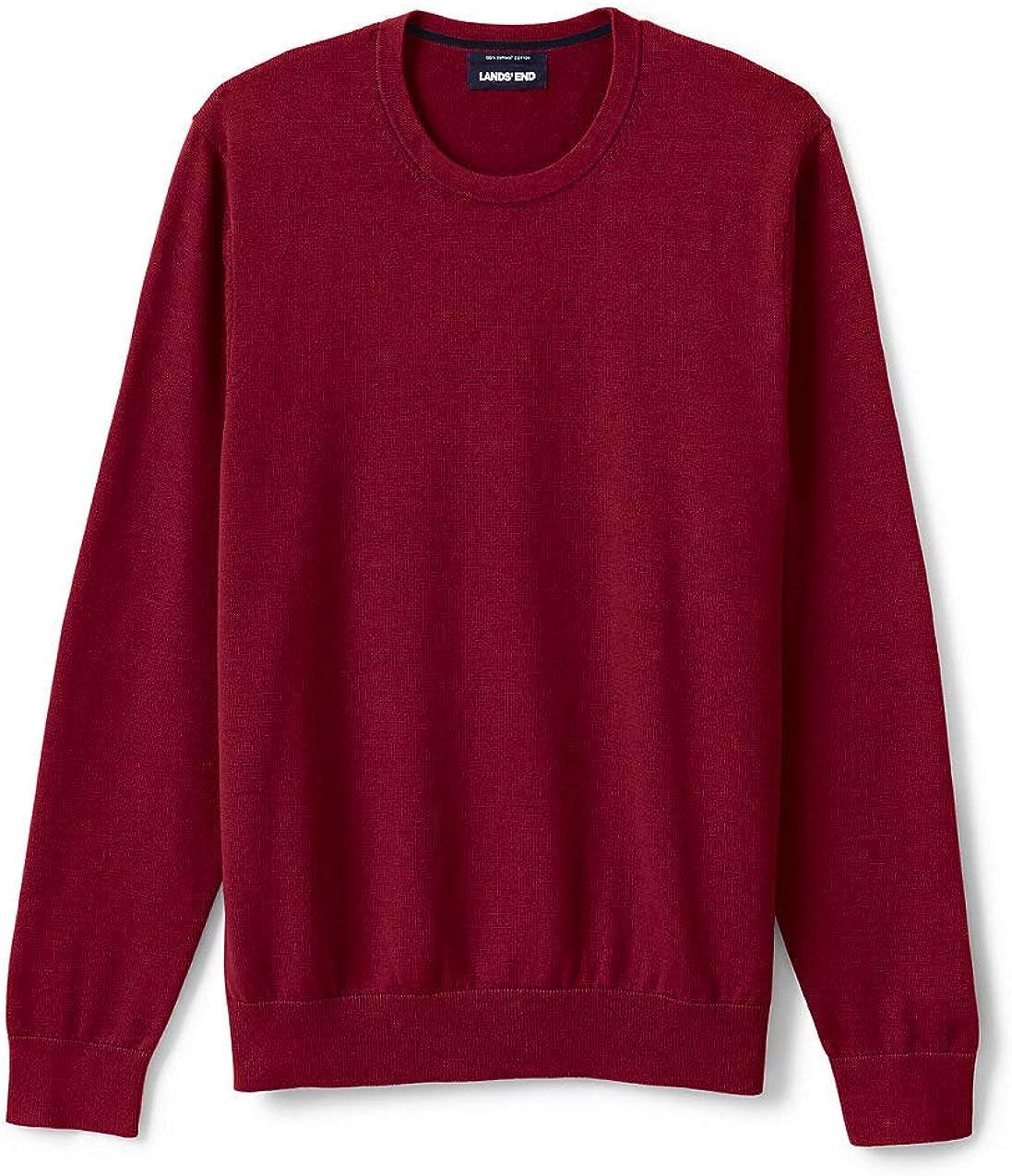 Lands End Mens Fine Gauge Supima Cotton Crewneck Sweater