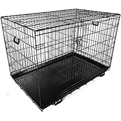 """Yescom 48"""" 2 Doors Foldable Metal Wire Dog Crate Tray Divider Cat Pet Kennel Cage House"""