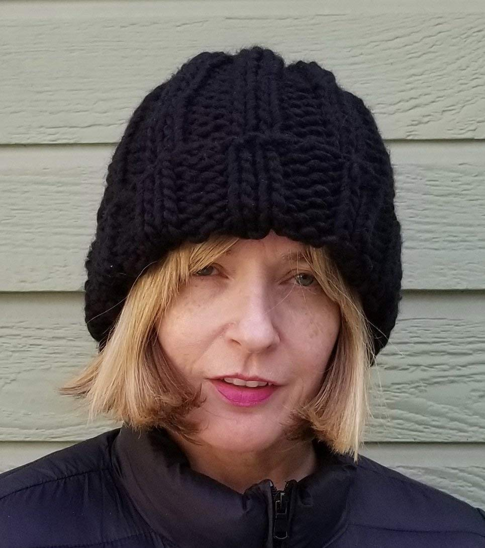 e8399351cea1b Black Chunky Oversized Beanie Hat Handmade Merino Wool Acrylic with Brim