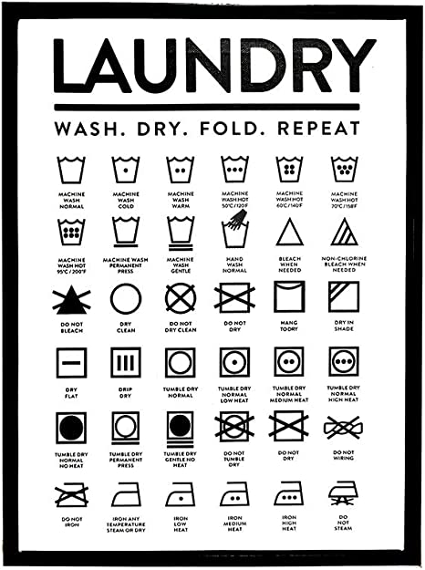 Qticn Decorative Paintings Laundry Room Care Guide Canvas Painting Wall Art Picture,Laundry Symbols Sign Poster Minimalist Prints Laundry Room Wall Decor Wall Art painting-16x24inch