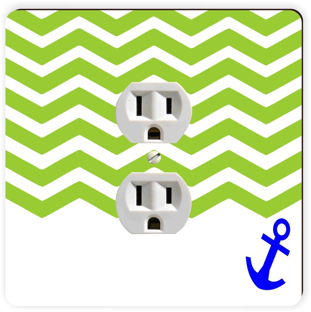 Rikki Knight 3D Chevron Green on White with Anchor Single Outlet Plate