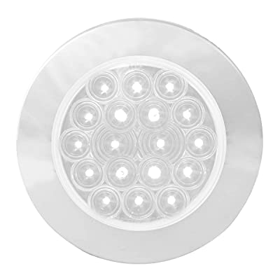 """GG Grand General 75884 White/Clear LED Light (4"""" Fleet 18 Flange Mount with Bezel, 3 Wires): Automotive"""