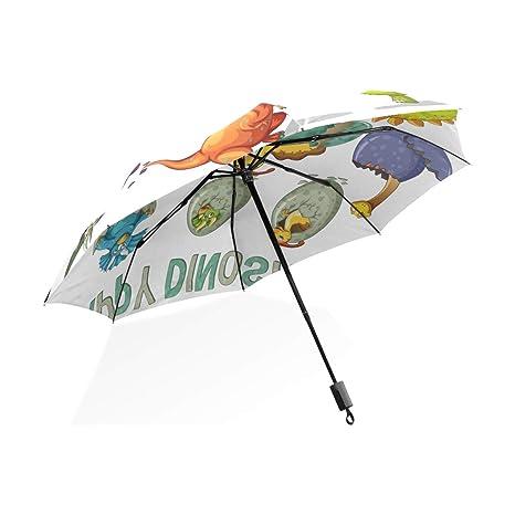 ISAOA Paraguas de Viaje automático Compacto Plegable Paraguas Feliz Dinosaurio Resistente al Viento Ultra Ligero UV