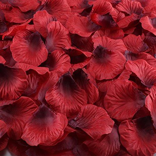 Artificial Flowers,Hogado 2000 Pcs Dark Red Silk Rose Petals Bulk Wedding Bridal Shower Home Hotel Party Anniversary (Ladie Crimson Arch)
