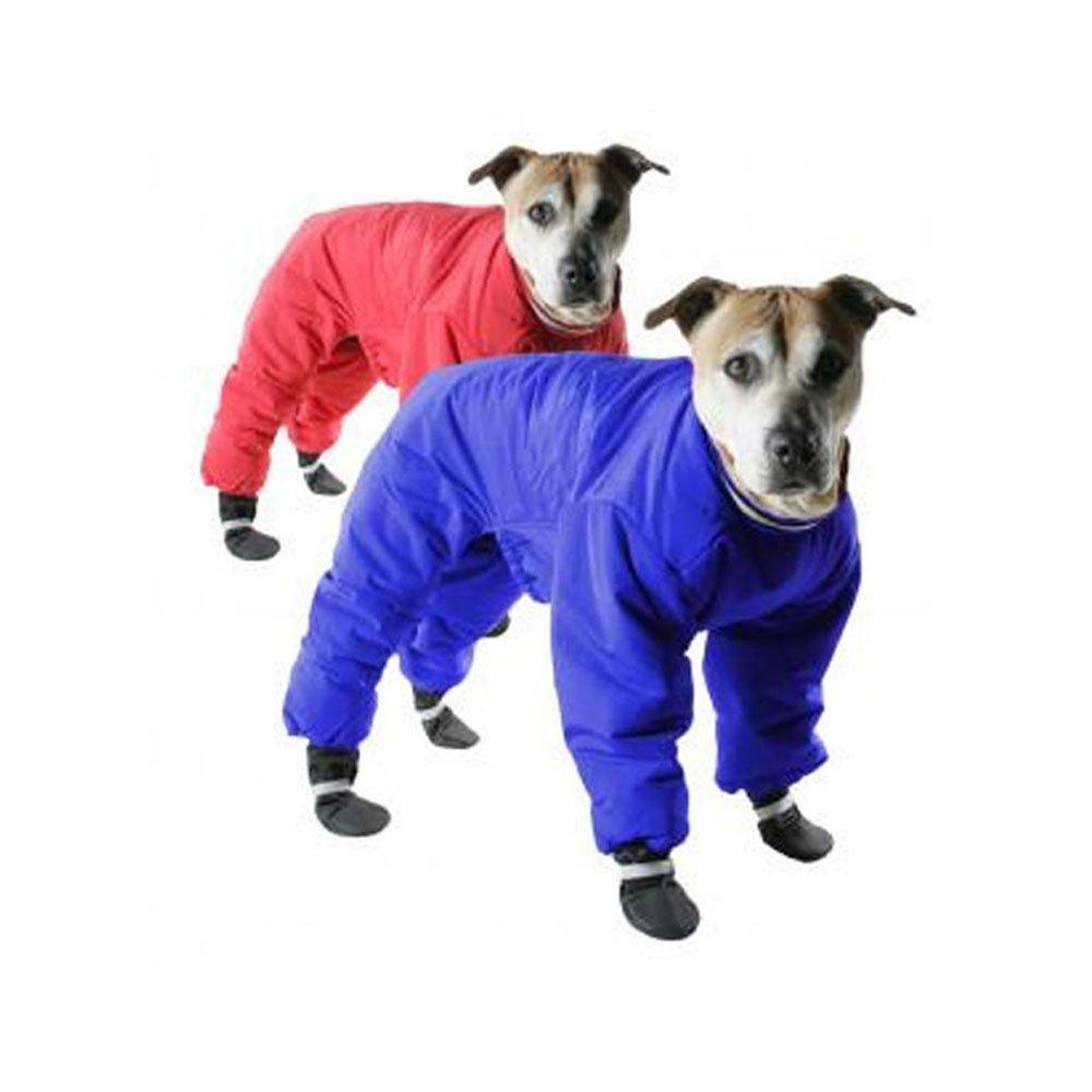 Muttluks Four Legged Nylon Reversible Dog Snow Suit, Size 16, Red/Blue