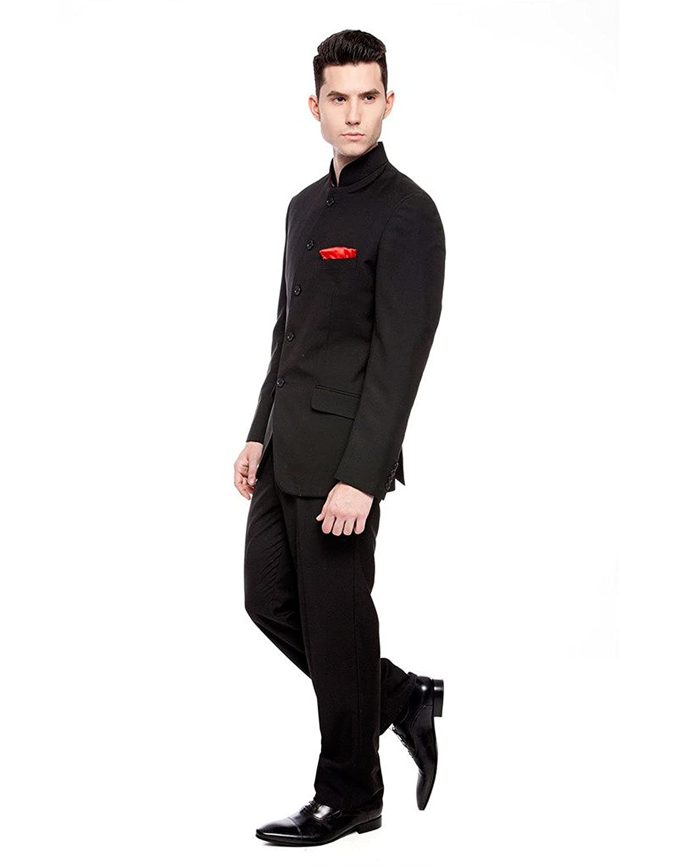 36 Jacket 30 Trouser, Black Royal Mens Black Nehru Grandad Collar Suit Ideal for Wedding