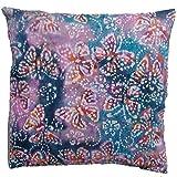 KAKIA DESIGNS UK Lilac and Blue Butterflies Batik Hand Printed 16' Cushion Cover