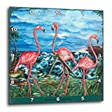 3dRose dpp_54898_2 The Concept of Love Bird Flamingos and The Subliminal Heart Formed by The Heads Wall Clock, 13 by 13-Inch For Sale
