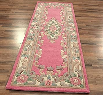 Beautiful Traditional Classic Aubusson Floral 100% Wool Hand Tufted Chinese Rug  Runner / Mat, Pink