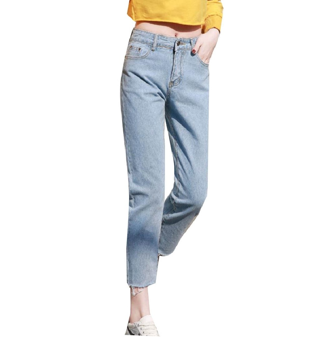 Doufine Women's Harem Trousers Fringed Casual Straight Loose Fit Ankle Jeans Light Blue 32