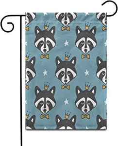 """Awowee 28""""x40"""" Garden Flag Animal Raccoon Prince Children Pattern and Stars Simple Baby Outdoor Home Decor Double Sided Yard Flags Banner for Patio Lawn"""
