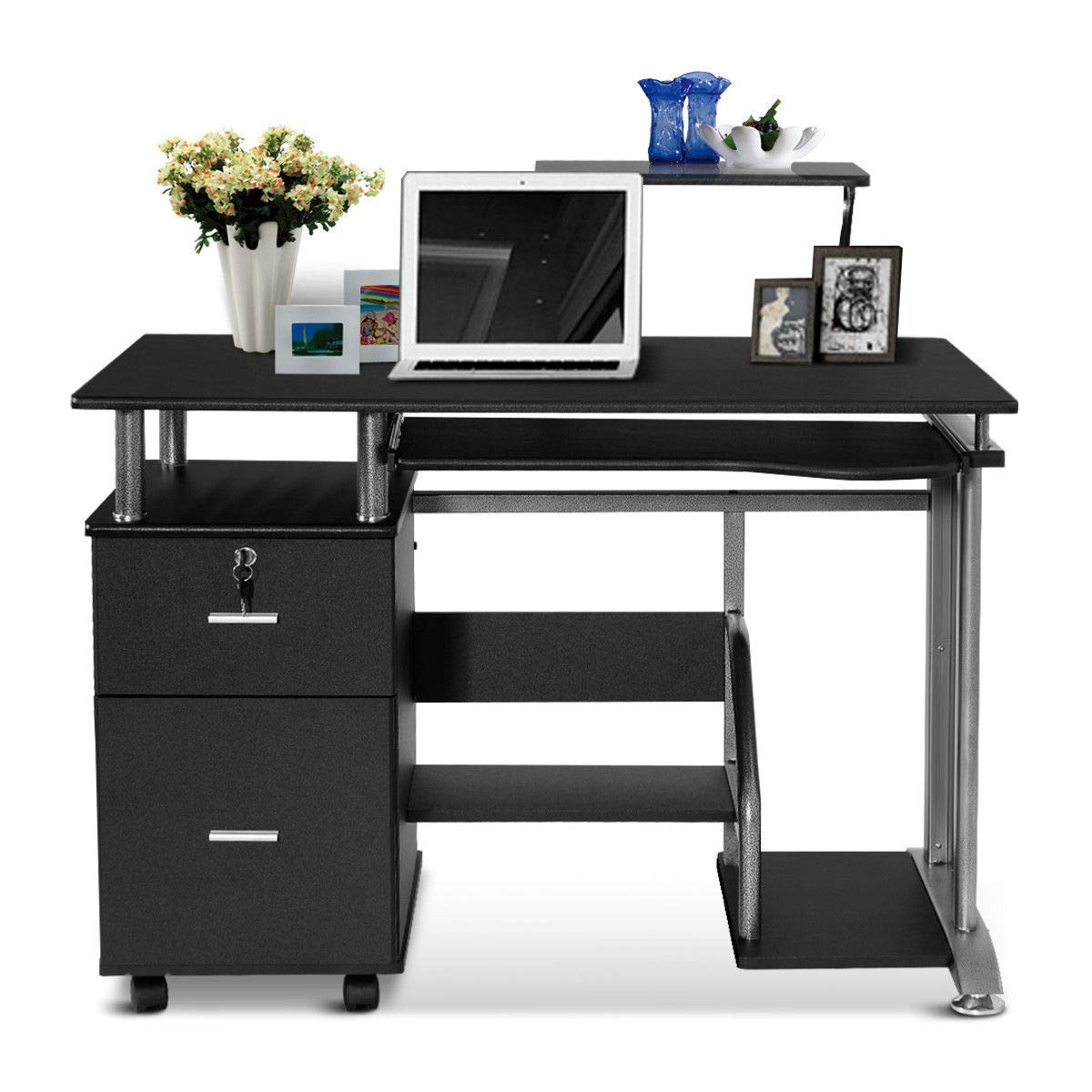 Tangkula Computer Desk, Home Office Desk, Computer Workstation, Study Writing Desk with Storage Drawer and Pull-Out Keyboard Tray, Compact Laptop PC Workstation