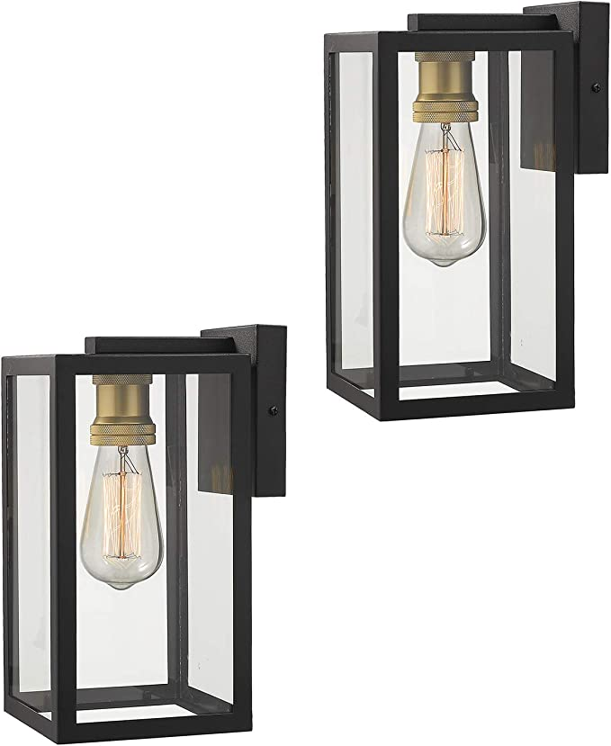 Zeyu Exterior Wall Mount Light 2 Pack 1 Light Outdoor Wall Sconce Light Fixtures For Porch Black And Gold Finish With Clear Glass 02a151 2pk Bk Home Improvement Amazon Com