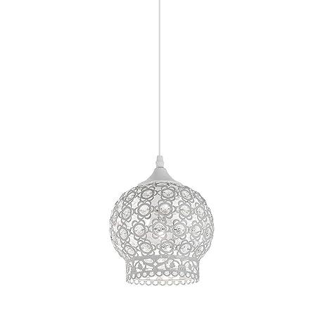 Lámpara de techo blanca con elegante tulipa mosaico decorativa para bombilla LED de rosca E27
