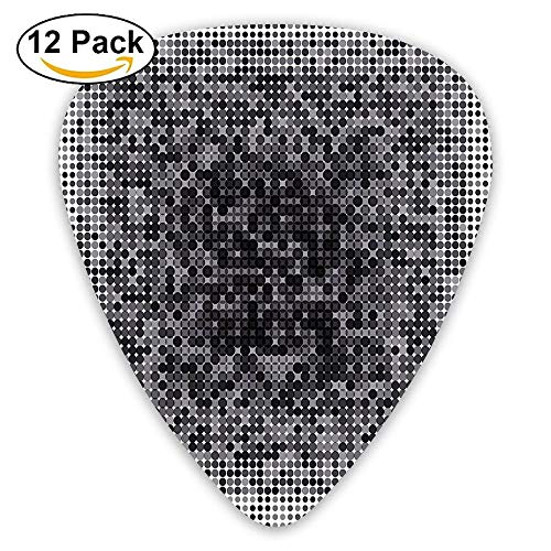 (Digital Futuristic Pixel Tech-Art With Dots Spots Artificial Pattern Guitar Picks 12/Pack Set)