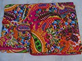 Tribal Asian Textiles Indian Reversible Kantha Quilt Handmade Bedspread Twin Size Throw Paisley Print