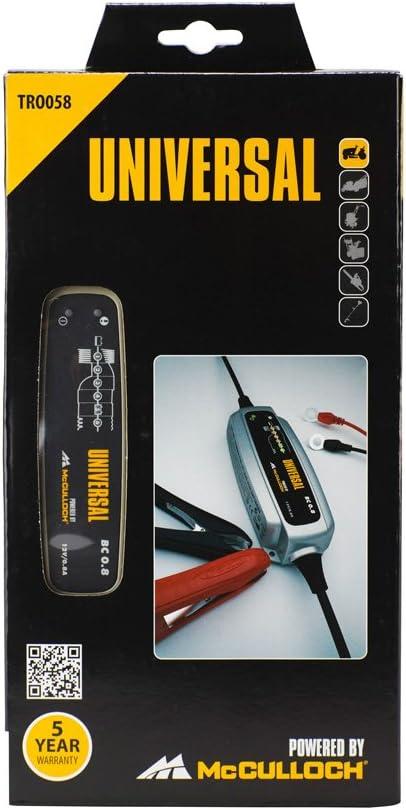 UPM 581627258 - Cargador de batería universal BC 0,8. Para baterias de 12V de Acido. Con 6 ciclos de carga y con sistema de mantenimiento.