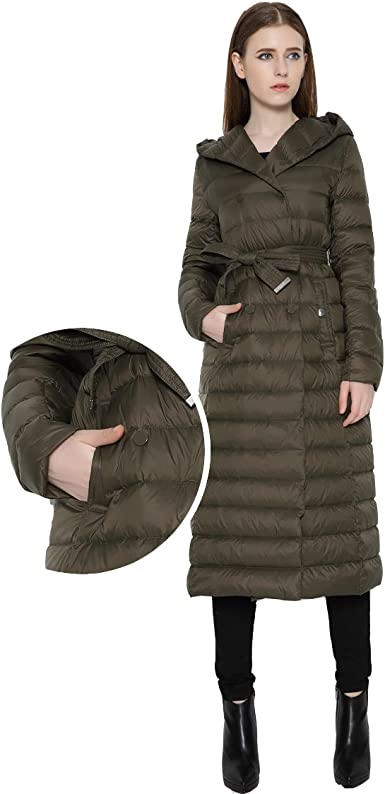 Wicky LS Womens Long Lightweight Thin Down Coat with Hood Double-Breasted
