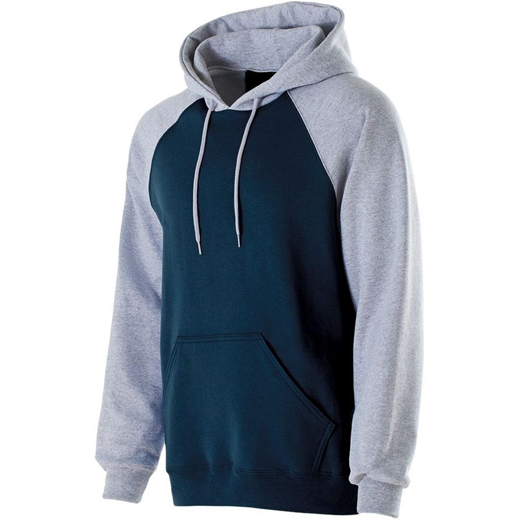 Holloway Youth Banner Hoodie (Large, Navy/Athletic Heather) by Holloway