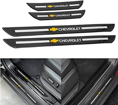 Cardiytools 4pc Carbon Fiber Car Door Welcome Plate Sill Scuff Cover Panel Sticker