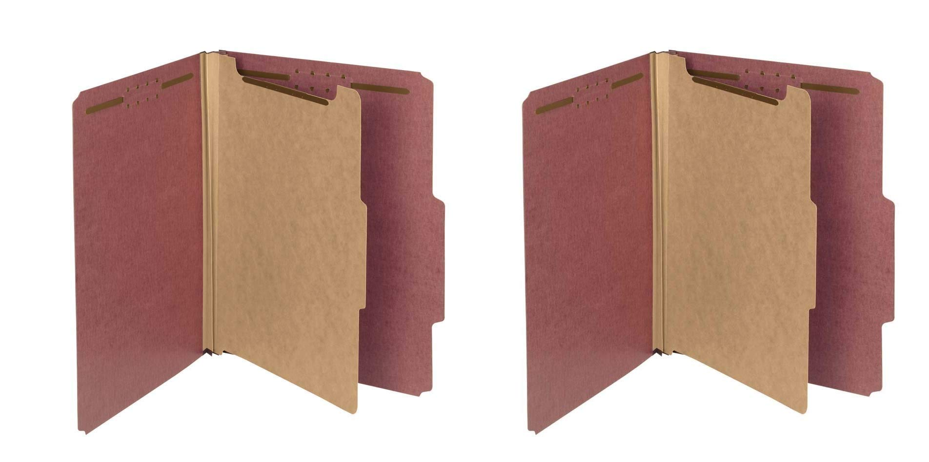 Smead 100% Recycled Pressboard Classification File Folder, 1 Divider, 2'' Expansion, Letter Size, Red, 10 per Box (13724) (2 X 10 per Box)