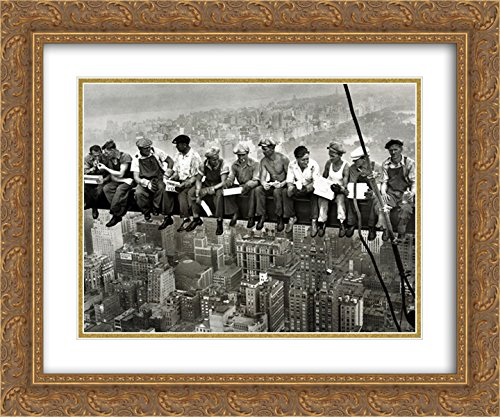 Lunchtime Atop a Skyscraper, c.1932 2x Matted 24x20 Gold Ornate Framed Art Print by Charles C. Ebbets - 1932 Gold Framed Print