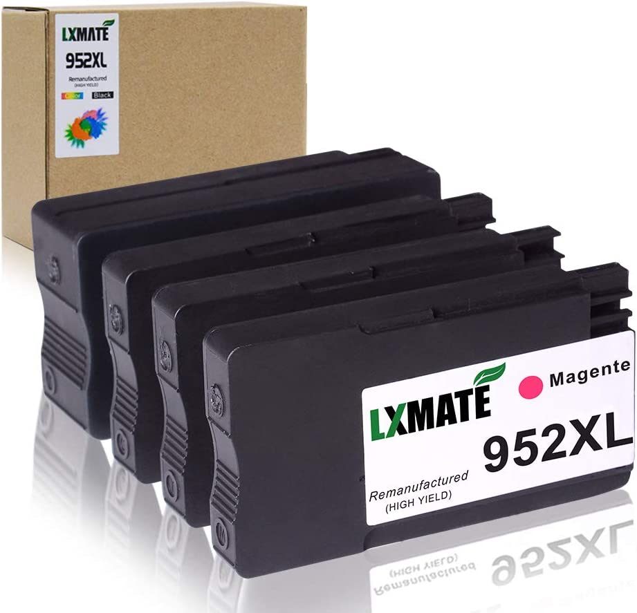LXMATE 952XL Ink Cartridges High Yield Remanufactured Replacement for HP 952 XL Used in Officejet Pro 7740 8210 8216 8700 8702 8710 8715 8720 Printer (1 Black, 1 Cyan, 1 Magenta, 1 Yellow, 4 Pack)