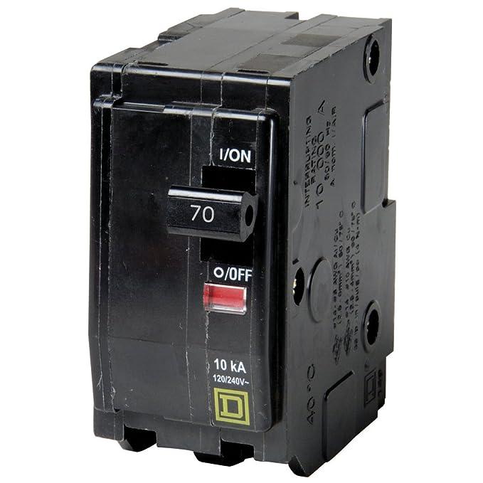 Square D QO270 Miniature Circuit Breaker, 120/240 VAC, 70 A, 10 kA Interrupt, 2 Poles, Thermal Magnetic Trip