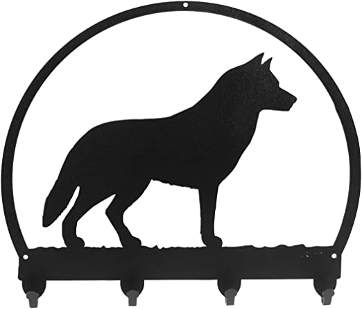 SWEN Products SIBERIAN HUSKY Dog Black Metal Key Chain Holder Hanger