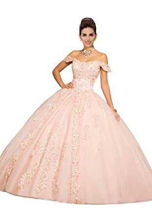 54022e9f99c Fannydress 2019 Off The Shoulder Prom Dresses with Sleeve Lace Applique  Crystal Beaded Quinceanera Dress Gowns