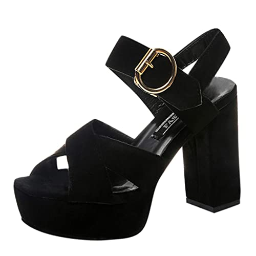Stivali Donna Tacco Alto Scarpe da Lavoro Sandali Estivi Donna con Tacco  Cintura Fibbia Pesce Bocca 7837d537b73