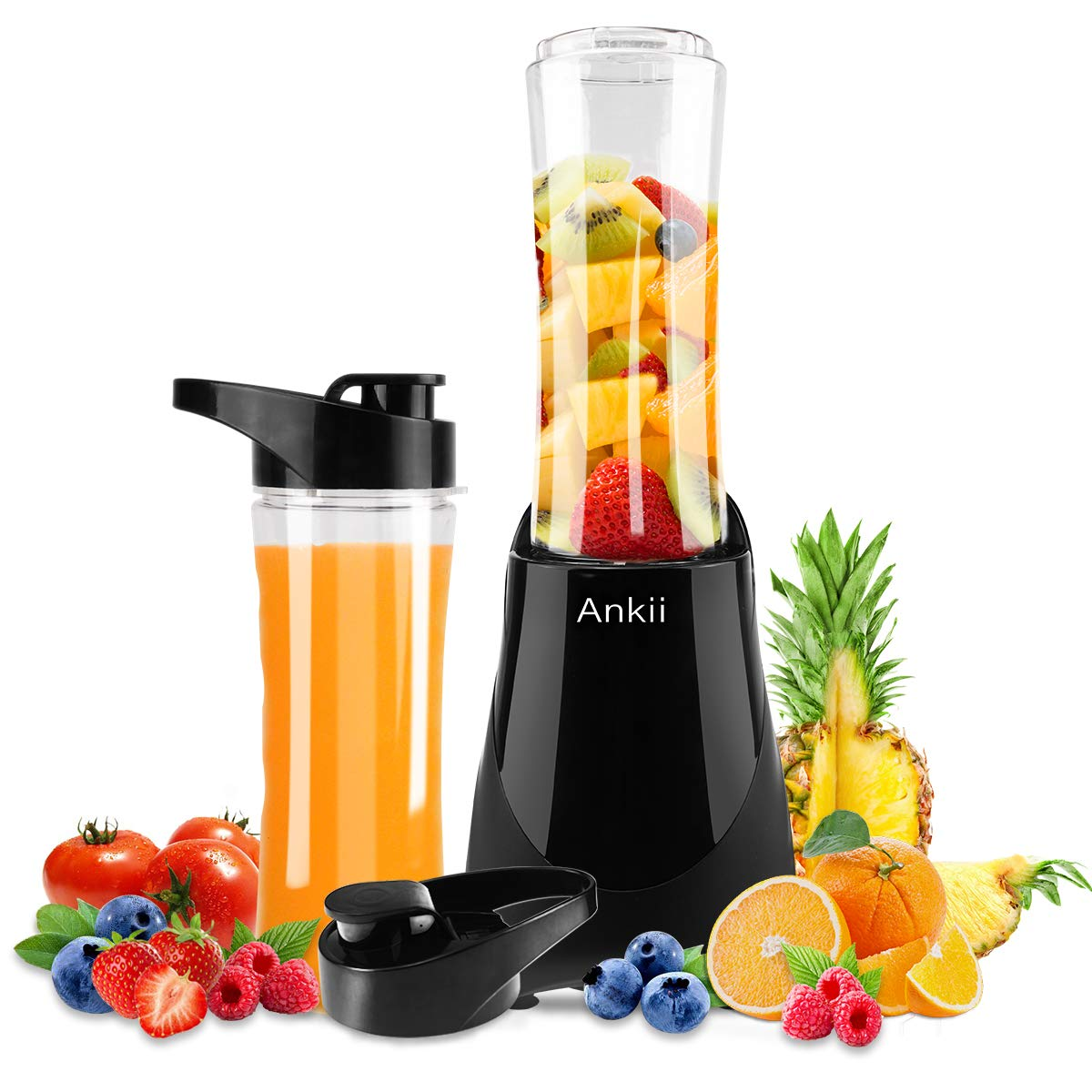 Professional Personal Size Blender with 300-Watt Base, Vitamin and Nutrient Extraction, Detachable Blade Assembly, Total Crushing Technology for Smoothies, Ice, vegetable and Frozen Fruit, 2 Tritan Bottle with 20 oz, Black Ankii