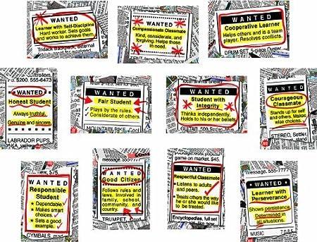 3441 Carson Dellosa Wanted Good Character Bulletin Board Set