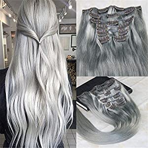 "HairDancing 22"" 120gram 7Pcs Dip Dye Hair Silver Grey Color Thick Clip in Extensions Remy Clip On Human Hair Extensions Best Quality Pastel Clip in Hair Extensions"