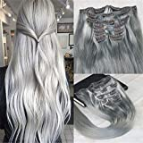 Cheap HairDancing 14″ 120gram 7Pcs Dip Dye Hair Silver Grey Color Clip in Extensions Remy Clip in Human Hair Extensions Best Quality Pastel Clip in Hair Extensions