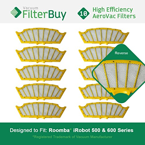 10 FilterBuy iRobot Roomba 500 Compatible Replacement Filters. Designed by FilterBuy to replace all Roomba Professional & Roomba 500 Series Vacuum Filters