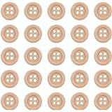 Pandahall 100PCS Bottoni 4-Fori Bottoni Legno Bottoni Rotondi OldLace, 13mm in Diameter, 100 pezzi/ Scatola