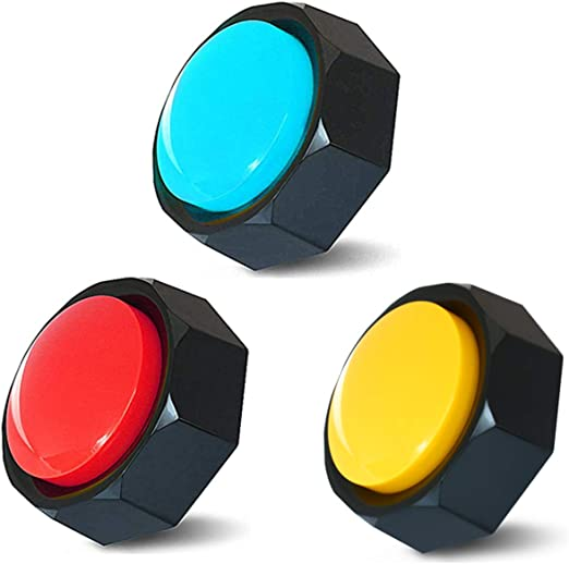 Z-DADA Set of 3, Dog Speech Training Buzzers, Recordable Buttons - Train Your Dog to Voice What They Need (Battery Included)