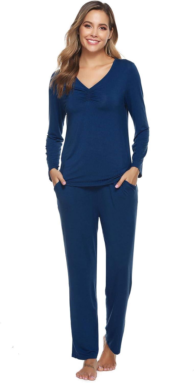 ARBLOVE Einfarbige Pyjama Damen Schlafanz/üge Lang Baumwolle Zweiteilige Nachtw/äsche Langarm Shirt und Pyjamahose
