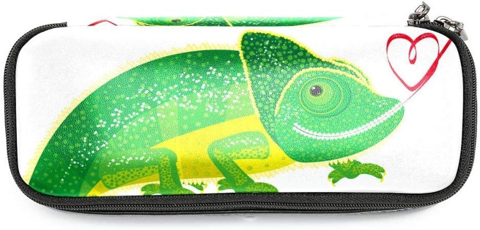 Lagartija verde Estuche Estuche de cuero para niños y niñas con estuche de cremallera y estuche duradero 19x7.5x3.8cm