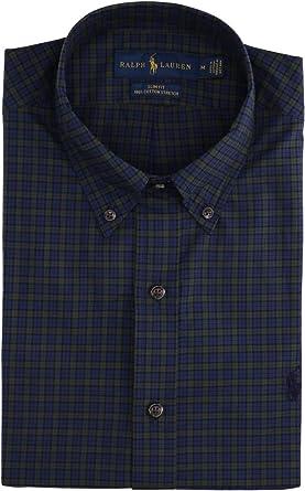 Polo Ralph Lauren Mod. 710767330 Camisa Popelin Slim Fit Hombre Verde S: Amazon.es: Ropa y accesorios